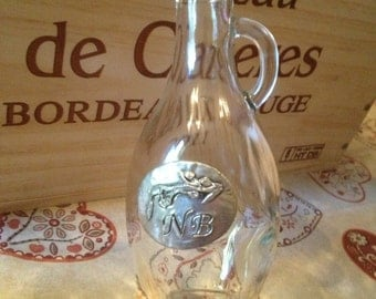 French Vintage Wine or Water Pitcher, 25cl personalised, glass caraf