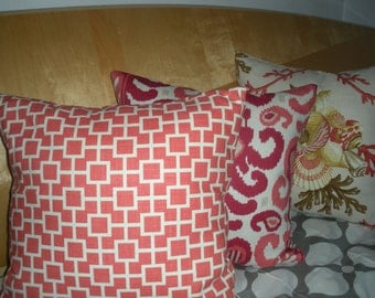 SALE! 20 x 20 Square Pillow Covers - Cotton and Linen - Red, Neutral