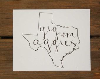 Texas: Gig Em Aggies Texas A&M Print
