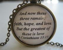 Love Scripture Necklace Bible Verse 1 Corinthians 13:13 Wedding Verse