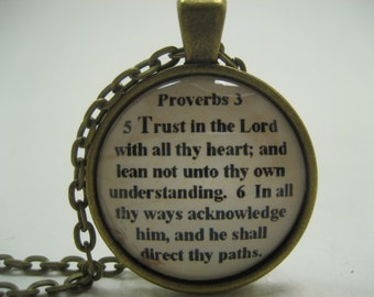 Trust In The Lord With All Thy Heart Scripture Necklace Bible Verse Proverbs 3:5-6