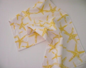 Nautical Starfish Table Runner in sun yellow