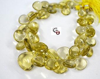 AAA Quality Lemon Quartz Smooth heart Shape 10 to 18 mm , 8 inch strand