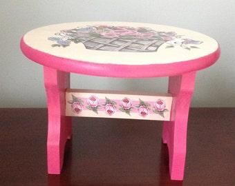Decorative Rose Basket Round Wood Stool