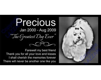 "Personalized Maltese Dog Granite Pet Memorial 12x6 Inch Engraved Grave Marker Plaque ""Precious"""