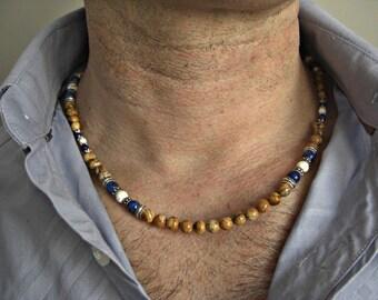 Picture Jasper, Lapis Lazuli, White Howlite, Silver Accents Men's Necklace
