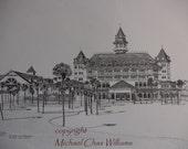 Disney World's The Grand Floridian Beach Resort, Walt Disney World Florida - Fine Art Pen and Ink litho print
