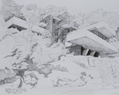Frank Lloyd Wright's Falling Water home-Fine Art Reproduction of Pen and Ink Original
