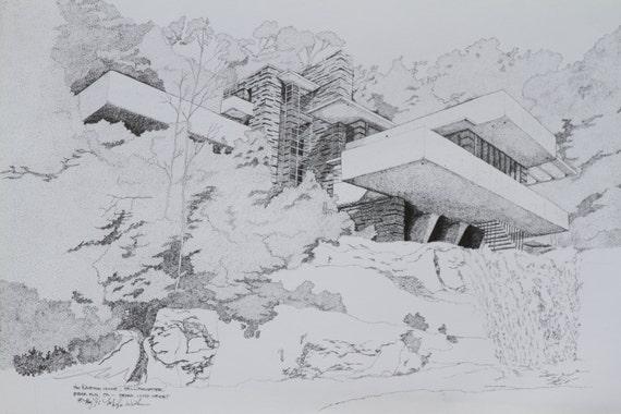 frank lloyd wright 39 s falling water home fine art. Black Bedroom Furniture Sets. Home Design Ideas