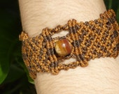 JUPITER BRACELET - tiger Eye stone //// Tribal, ethnic, artwork, handmade, handcraft, gemstone, macramé