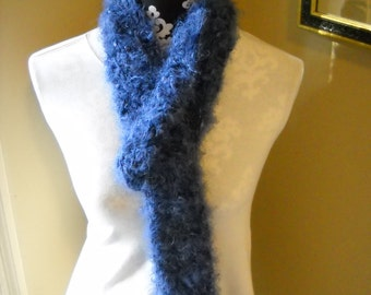 "Soft Fuzzy Scarf - Deep Periwinkle with ""Hidden"" Navy"