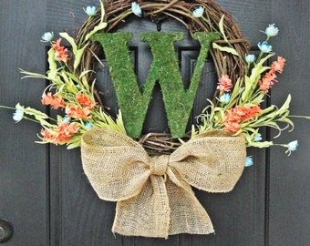 Colorful Wildflower and Moss Monogram Spring and Summer Wreath