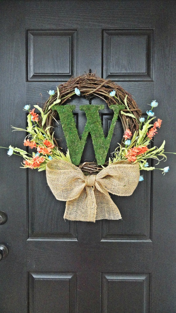 Items similar to colorful wildflower and moss monogram for Colorful summer wreaths