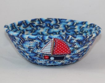 Small Turquoise, Blue and White Coiled Fabric Basket