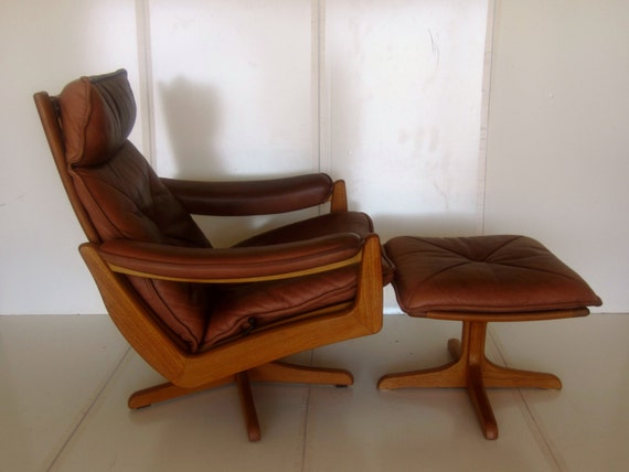 Mid Century Modern Scandinavian Lied Mobler Recliner Leather