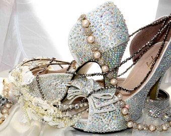 Swarovski crystal wedding bridal peeptoe platform ivory bow front high heel pump