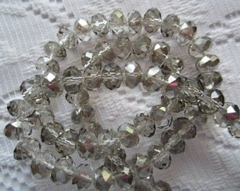 25  Light Smoke Grey AB Faceted Rondelle Crystal Beads  4mm x 6mm