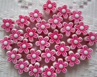 25  Hot Pink Fuchsia Magenta & White Flower Acrylic Beads  9mm