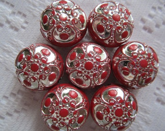 8  Christmas Red & Silver Textured Flower Puffed Acrylic Beads  18mm x 12mm