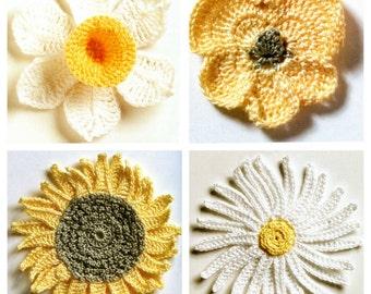 Fresh Flowers Crochet Patterns - Daisy, Pansy, Daffodil & Sunflower