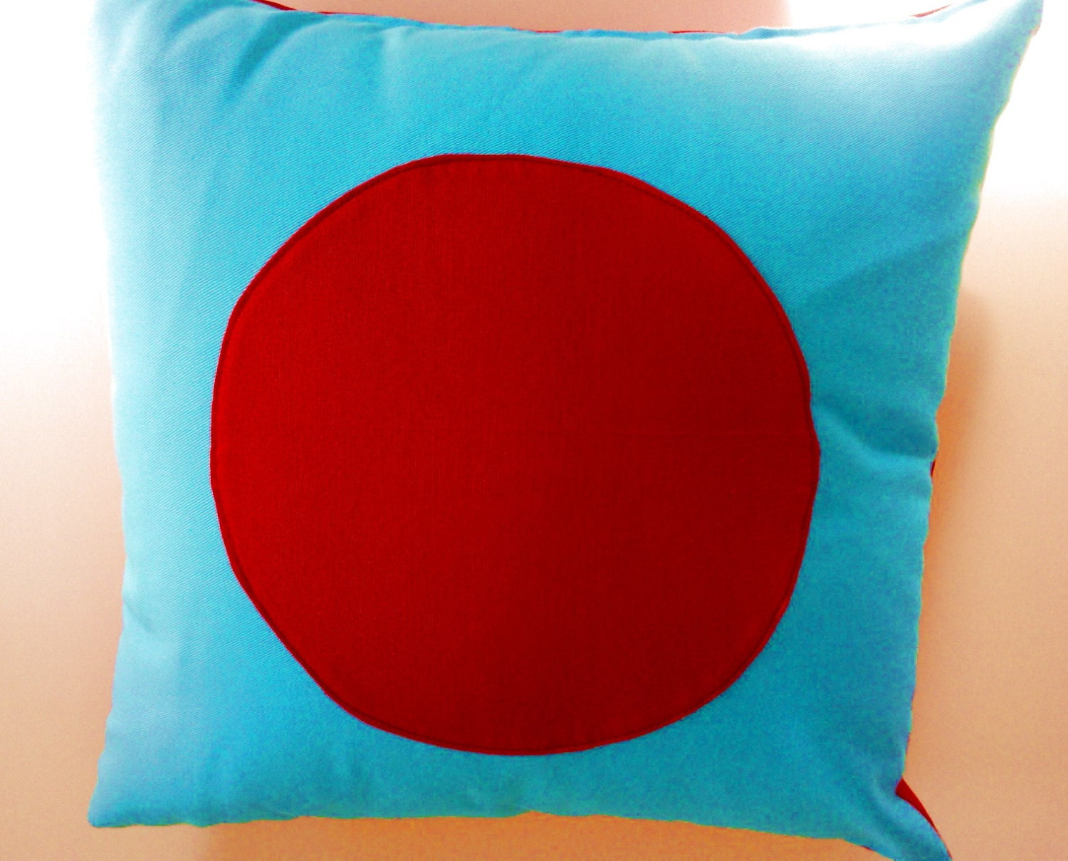 Turquoise Throw Pillow Cover Geometric Turquoise and Red
