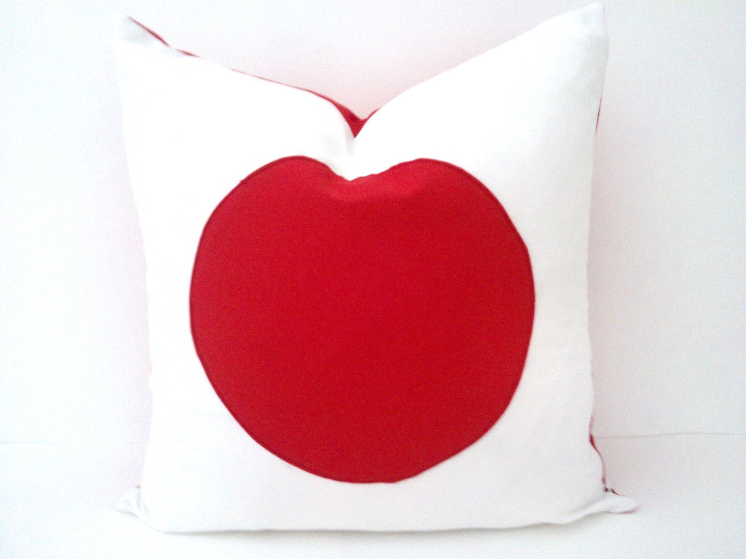 White and Red Circle Throw Pillow Cover Geometric Cushion