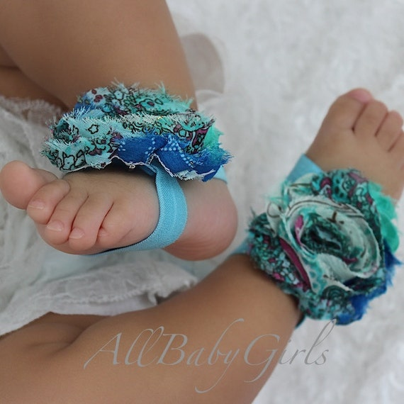 Flower Girl Barefoot Sandals, Blue Baby Barefoot Sandals, Flowers girls Sandals, Foot accessories, Newborn Baby gift, Newborn Gifts Sandals