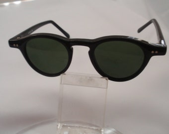 Vintage Small Round Plastic Horn Rimmed Black Sunglasses , Retro Small Round Black Sunglasses(NOW on SALE)