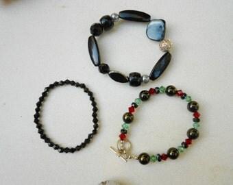 vintage Bracelets 1980s stretch bracelet cut glass and metals shell acrylics