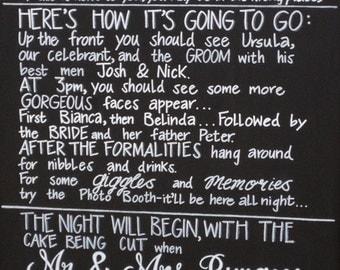 Wedding Chalkboard Program Sign.