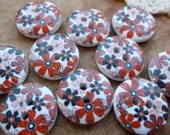 10x Wooden Button 15mm Button, Sewing, Dress Making Buttons Scrapbooking BT02