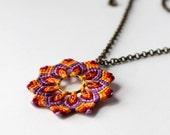 Hippie Flower Necklace Mandala Macrame violet orange red