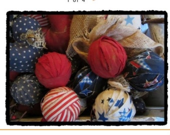 Set of 8 prim Americana fabric rag balls primitive decor grunged
