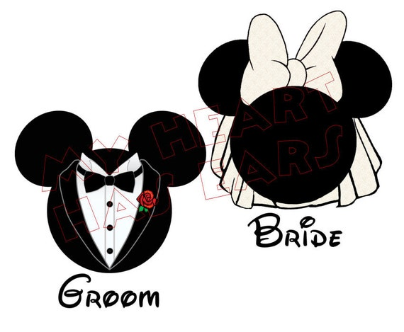 Printable DIY Mickey Mouse groom & Minnie Mouse bride Iron on ...
