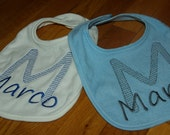 Embroidered Customized Bibs/ Name and Initial Bib/ Personalize Embroidered Bibs / Made to Order
