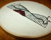 Embroidered Wall Hanging/ Roller Coaster / Hoop Embroidery / Nursery Room Wall Hanging/ Hoop Art / Ready to Ship