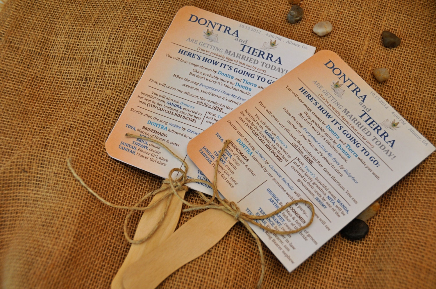 Rustic Wedding Program Fans By CreativeCoupleDnT On Etsy