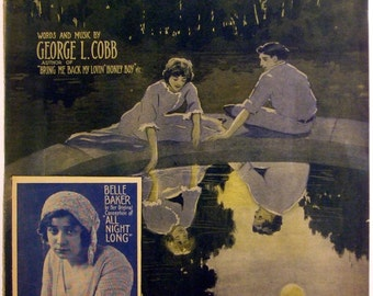 """Antique 1914 Sheet Music  """"Just For Tonight""""  Vintage Large Format 11 x 14"""