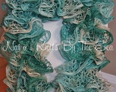 """READY TO SHIP- Custom handmade knitted Lacy Wave Scarf """"Ocean Waters"""" 55 inch or 65 inch length"""