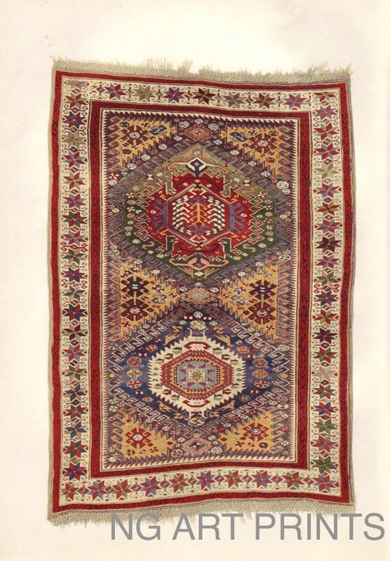 Antique Oriental Rug Print Turkish Rug Print Middle Eastern