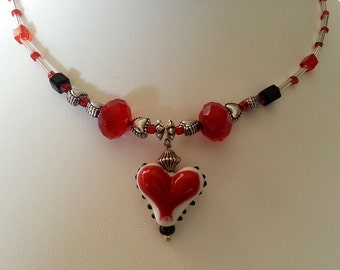 Sweet Heart Choker with Red Glass Heart