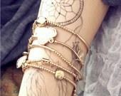 Gold Charm Bracelets Set of 5