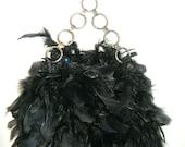 feather handbag with chain handle
