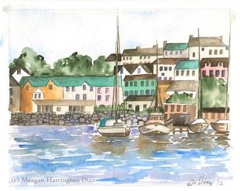 Sailboat Painting - Baltimore Ireland Harbor - LARGE print - 13x19 -  Watercolor Fine Art Print
