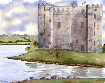 Castle Painting - Bunratty Castle - Ireland Fine Art Watercolor print - Castle Watercolor