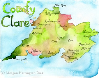 County Clare Ireland - LARGE 13x19 Fine Art Watercolor Print - Ireland County Map
