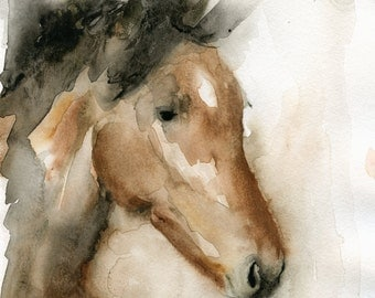 Horse Art - Watercolor Horse Painting - Fine Art Print - Animal Painting - Brown Horse