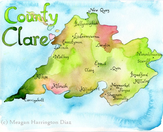 Print County Maps Map Art Print County Clare