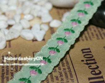 1 meter M84 cotton mixed woven jacquard ribbon with Rosebuds In Light Green