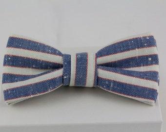 Handmade Bowtie Vintage Red, White Blue Striped Fabric Bow tie Preppy bowtie